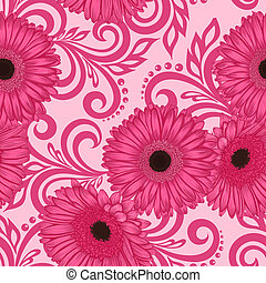 seamless pattern with gerbera flowers and abstract floral...