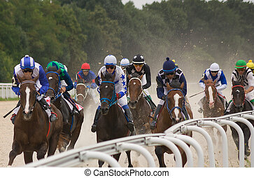 Horse race finish - The race for the prize of the Derby in...