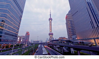 Day to night,Oriental Pearl tower - From day to...