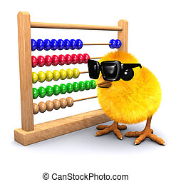 3d Chick in sunglasses with abacus - 3d render of a baby...