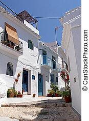 bello, decorato, strada,  frigiliana, Spagna