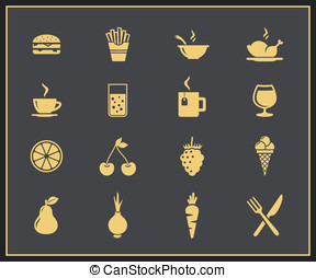 Food and drinks icon set - Food and drink icon set Drinks,...