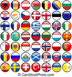 All European Flags - circle glossy buttons Every button is...