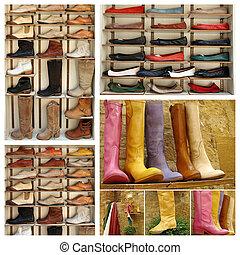 grupo, imágenes, variedad, cuero, zapatos, Mercado,...