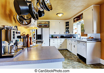 Kitchen interior with peach walls and khaki linoleum -...