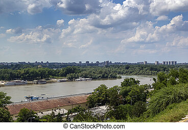 Sava river - the Sava River at the confluence of the Danube...