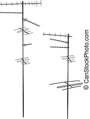 Antennas - Vector tv antenna silhouettes