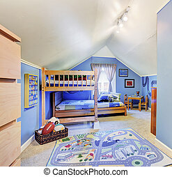 Bright blue kids room with bunk bed - Bright blue kids room...