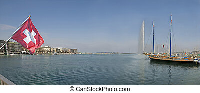 Geneva Switzerland Harbour and Jet d'Eau - Geneva Harbour on...