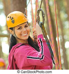 參與, 配備, 快樂, 攀登, 有吸引力, 岩石, 女孩, 特別