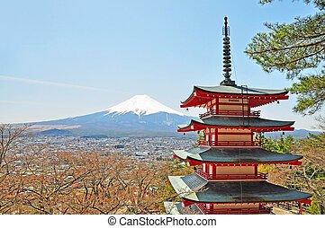 Mt Fuji with Chureito Pagoda - Mt Fuji viewed from behide...