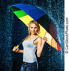 Girl Under Rain - beautiful girl with umbrella under rain,...