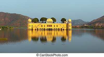 jal mahal palace on lake in Jaipur - landscape with jal...