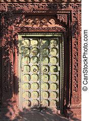 old wooden closed door in india