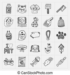 doodle pet icons set