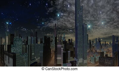 Fantastic city and UFO