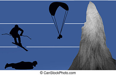 outdoor - paraglider, skier and luger as silhouette in...
