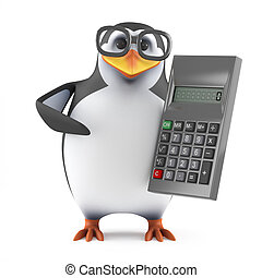 3d Academic penguin with a calculator - 3d render of a...