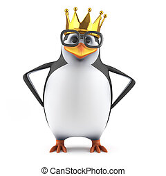 3d Academic penguin wears a gold crown - 3d render of a...