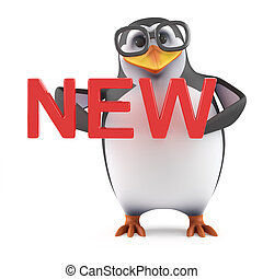3d Academic penguin holding the word New - 3d render of a...