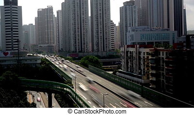 Heavy traffic and flyover in Shenzhen, China