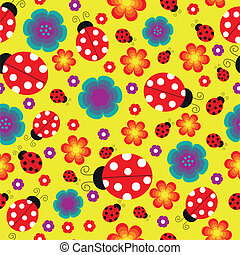 Seamless ladybug background - The image with ladybugs,...