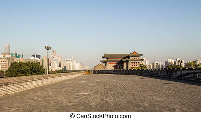 Walking on the city wall of Dongbianmen, Beijing, China