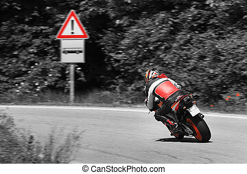 Motorcycle on the curve. - Motorcycle on high speed make...