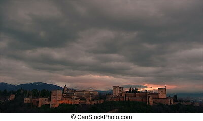 in timelapse Alhambra - in timelapse with clouds passing...