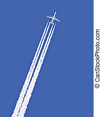 Jet airplane with trail