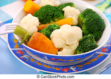 steamed vegetables for baby - steamed broccoli,carrot and...