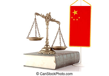 Chinese Law and Order - Decorative Scales of Justice on the...