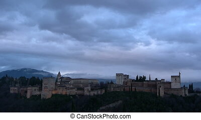 Outside of the Alhambra with storm clouds