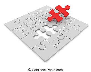 3d Final piece of the jigsaw puzzle - 3d render of a jigsaw...