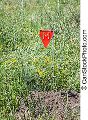 minefield - Minefield danger sign in a war area
