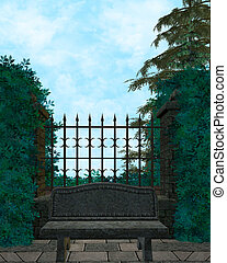 Outdoor Forest Background With A Bench