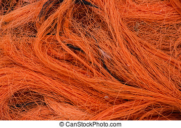Orange net - Orange fishing net.