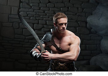 Gladiator with sword posing - Half length portrait of young...