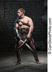 gladiador, dois, espadas