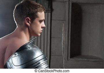 gladiador, atrás de