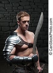 gladiador, escudo, espada