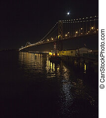 San Francisco Bay bridge in the night