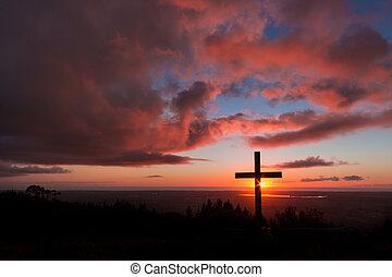 Hill Top Sunset Cross