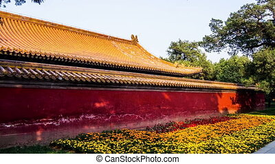 The exterior of Hall and the flower bed in the Temple of...