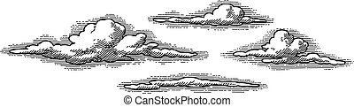 vector retro clouds - retro clouds pattern, vector image -...