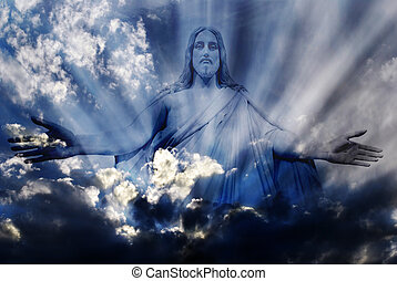 Jesus and Light - Jesus standing in white and gray storm...