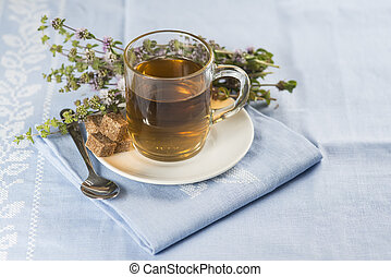 Mentha pulegium infusion and items to prepare it
