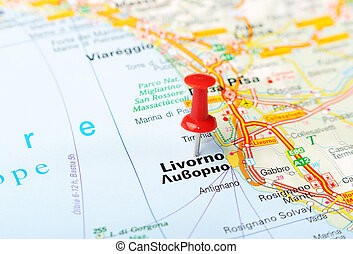 Livorno Italy map - Close up of Livorno , Italy map with red...