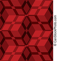 Red 3d cubes striped with net seamless pattern