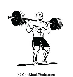 squat - this is a vector illustration of squat exercise